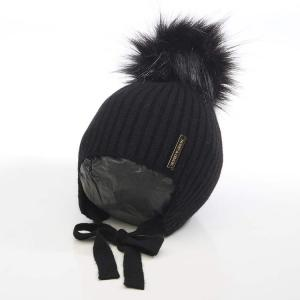 Honey & Lemon Beanie Comfy Single Pompom 3-18 m Black