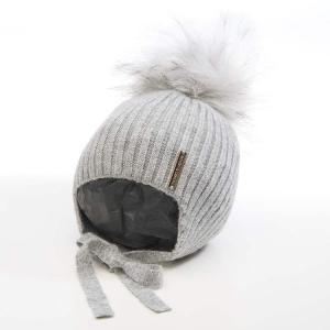 Honey & Lemon Beanie Comfy Single Pompom 3-18 m Grey