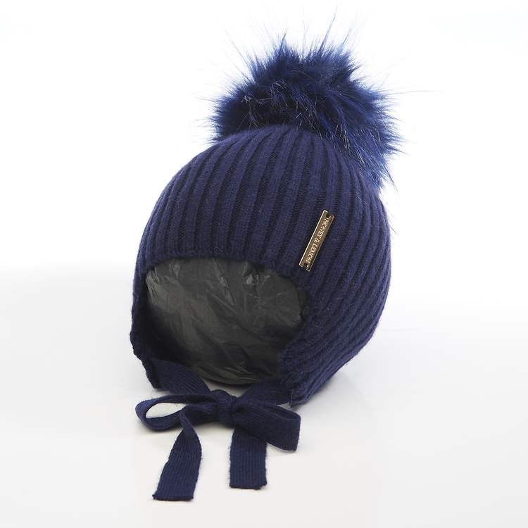 Honey & Lemon Beanie Comfy Single Pompom 3-18 m Marine