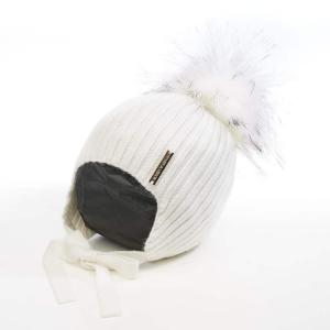 Honey & Lemon Beanie Comfy Single Pompom 3-18 m White