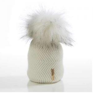 Honey & Lemon Hat Cloudy Single Pompom 0-6 m White