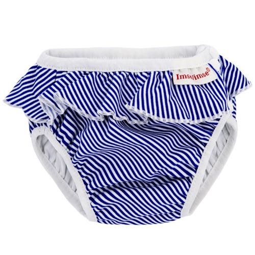 ImseVimse Badbyxa för babysim - White Blue Stripes