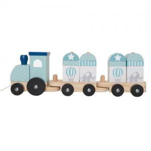 Jabadabado Pull Toy Train With Blocks Blue