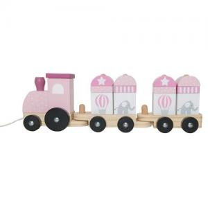Jabadabado Train With Blocks Pink