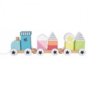 Jabadabado Train with Blocks Pull Along Toy Color Line