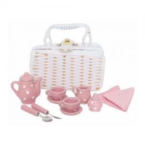 Jabadabado Tea Set Mini with Basket Pink