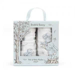 Jellycat Bomullsfilt Bashful 2-Pack Kanin 70x70 cm Blå
