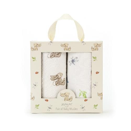 Jellycat Cotton Blanket Bashful Bunny 2-pack 70x70 cm Natural
