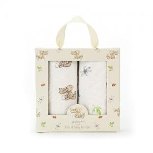 Jellycat Cotton Blanket Bashful Bunny 2-pack 70x70 cm Natural
