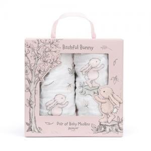 Jellycat Bomullsfilt Bashful 2-Pack Kanin 70x70 cm Rosa