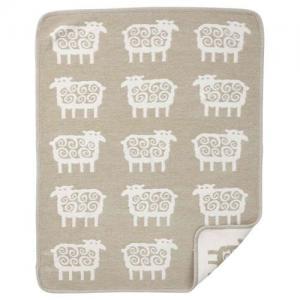 Klippan Yllefabrik 100 % Organisk Bomull Chenillefilt Sheep Beige
