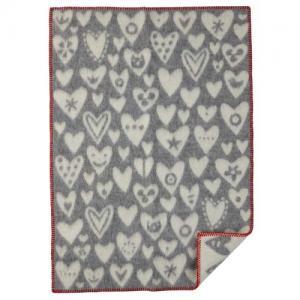 Klippan Wool factory 100% Organic Wool Blanket Baby Heart Grey