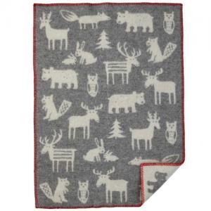Klippan Yllefabrik, 100 % Organic Wool Blanket, Forest - Grey