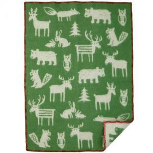 Klippan Yllefabrik, 100 % Organic Wool Blanket, Forest - Green