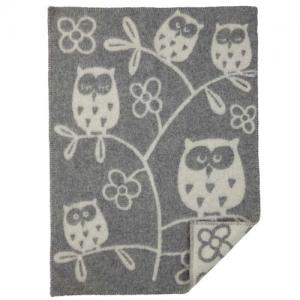 Klippan Wool factory 100% Organic Wool Blanket Tree Owl Light Grey