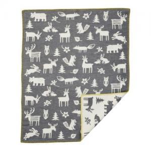 Klippan Yllefabrik 100 %  Brushed Organic Cotton Blanket Forest Grey