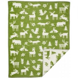 Klippan Yllefabrik 100 %  Brushed Organic Cotton Blanket Forest Blue