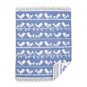 Klippan Yllefabrik 100 % Ekologisk Bomull 70x90cm Chenille Birds Blue