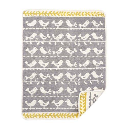 Klippan Yllefabrik, 100 % Organic Cotton Chenille Birds Grey
