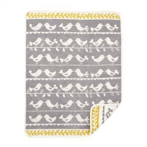 Klippan Yllefabrik 100 % Ekologisk Bomull 70x90cm Chenille Birds Grey