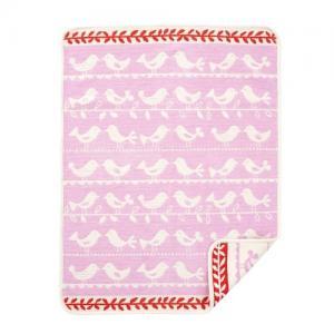 Klippan Yllefabrik 100 % Ekologisk Bomull 70x90cm Chenille Birds Pink