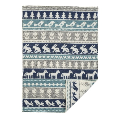 Klippan Yllefabrik 100 % Organic Wool Blanket Nature Grey / Blue