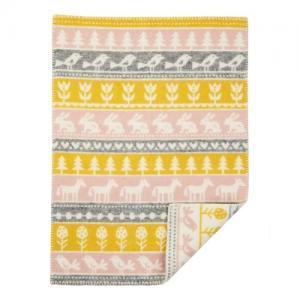 Klippan Yllefabrik 100 % Organic Wool Blanket Nature Yellow / Pink