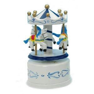Leklyckan Music Box Wooden Carousel Horses Big Blue / White