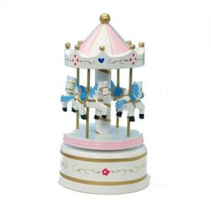 Leklyckan Music Box Wooden Carousel Horses Small Pink / White