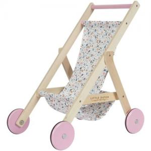 Little Dutch Doll Stroller In Wood & Floral Fabric