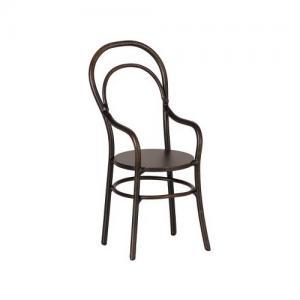 Maileg Chair With Armrest Mini, Stol Med Armstöd Svart Rustik