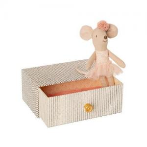 Maileg Dancing Mouse In Daybed, Light Pink, Little Sister