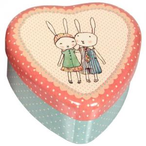 Maileg Heart Formed Metal Box Rabbits Pink/Blue Small