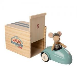 Maileg Little Brother Mouse with Blue Car and Garage