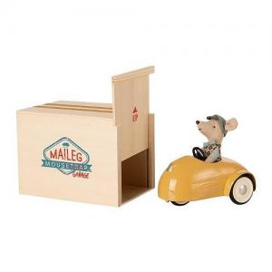 Maileg Little Brother Mouse with Yellow Car and Garage