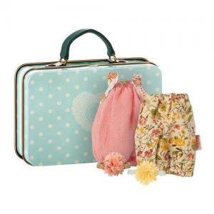 Maileg Suitcase Micro With 2 Dresses For Girl Resväska med 2 Klänningar