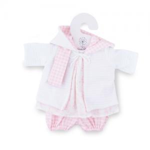 Marina & Pau Doll Clothes Cardigan Dress Trousers Pink / checkered 45 cm