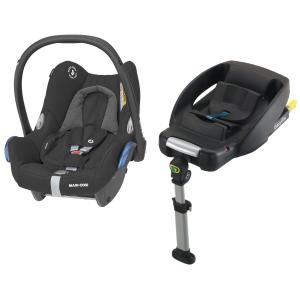 Maxi-Cosi CabrioFix Essential Black & EasyFix Package Baby Car Seat incl. IsoFix-bas