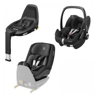 Maxi-Cosi Pebble Pro i-Size Essential Black + Pearl Pro 2 i-Size Authentic Black+ FamilyFix3