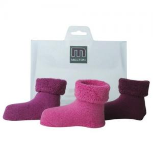 Melton Babysocka Terry 3-pack Fucshia - One Size
