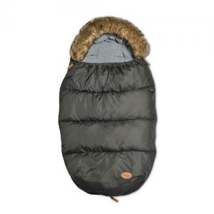 Mini Dreams Footmuff with Fur Black & Bigger Button