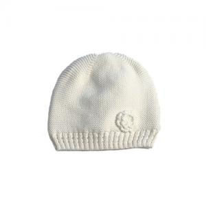 Mini Dreams Baby Hat Fleece Off-White With A Flower 0-3 Months