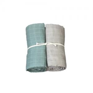 Mini Dreams Filt Muslinfilt 2-Pack 115x115 cm Dusty Green / Linne