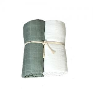 Mini Dreams Filt Muslinfilt 2-Pack 115x115 cm Vit / Dusty Green
