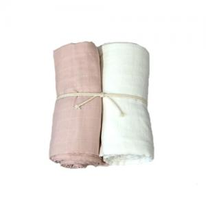Mini Dreams Filt Muslinfilt 2-Pack 115x115 cm Vit / Dusty Pink