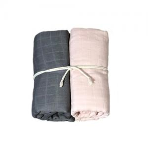 Mini Dreams Filt Muslinfilt 2-Pack 115x115 cm Grå / Dusty Pink