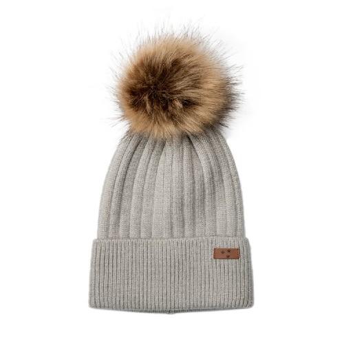 Mini Dreams Hat Fluffy Grey with Beige Pom-pom