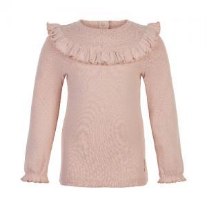 Minymo Sweater Long Sleeve Pointelle Ruffles Pink