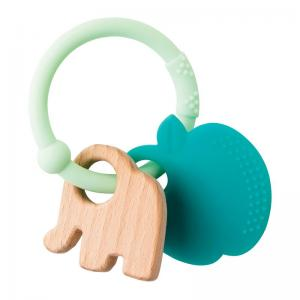 Nattou Lapidou Teether Apple Soft Silicone & Wood