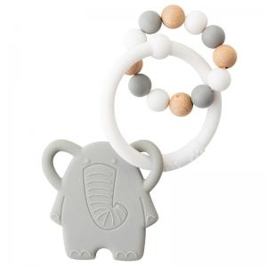 Nattou Lapidou Teether Elefant Grey / White Soft Silicone & Wood